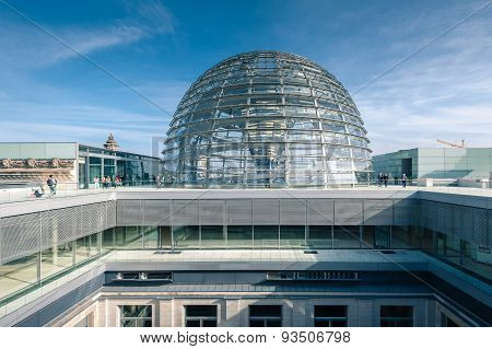 View Of Reichstag Dome In Berlin, Germany.