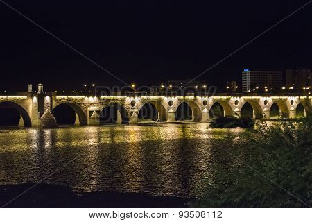 Palms Bridge At Night (puente De Palmas, Badajoz), Spain