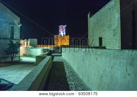 Battlements, Pathways And Towers Of Badajoz Muslim Wall At Night, Spain