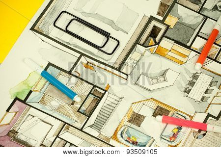 architectural design floor plan sketch drawing illustration of interior decoration
