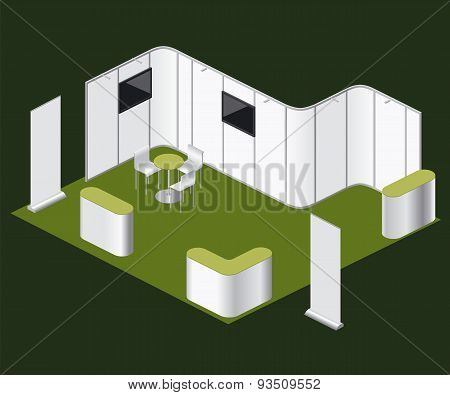 Fair Exhibition Blank Stand Curved Booth Vector Elements