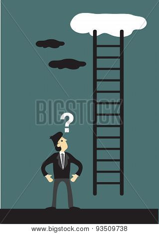 Businessman And Corporate Ladder Going Up The Sky