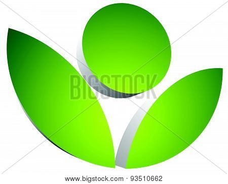 3D Flower Symbol Isolated. Eps 10 Vector Graphics.
