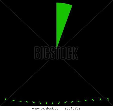 Rotating Empty Radar Screen Or Sonar Display. Segmented Circle With Thin Slice. Rotated Versions Inc