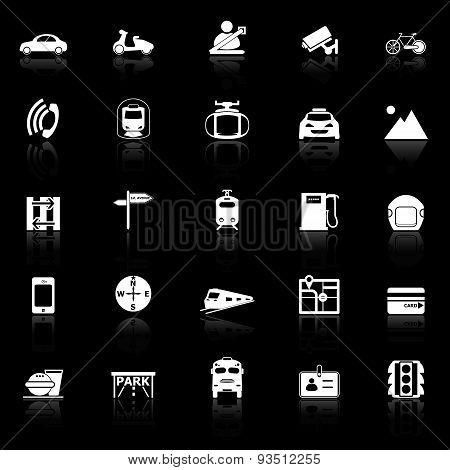 Land Transport Related With Reflect Icons On Black Background