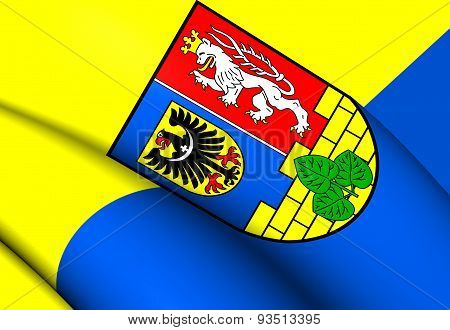 3D Flag of the Gorlitz District Germany. Close Up. poster