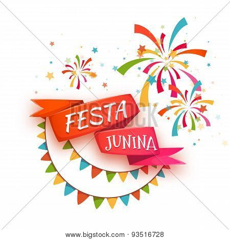 Red ribbon with title for Brazil june party. Vector illustration