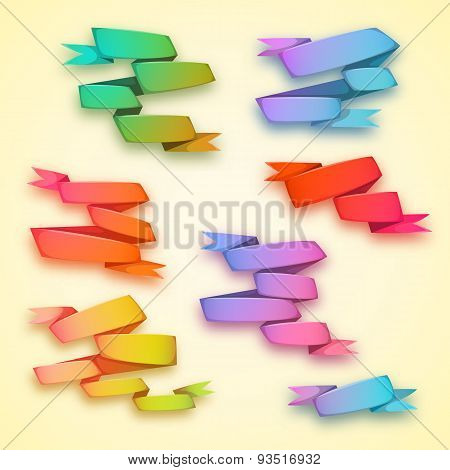 Vector set of curved ribbon rainbow paper banners