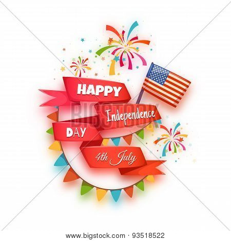 Happy independence day banner. Red ribbon with title. Vector illustration
