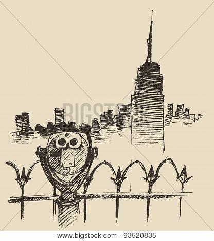 Viewpoint with binoculars binocular viewer city