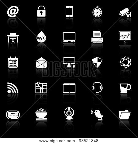 Internet Cafe Icons With Reflect On Black Background
