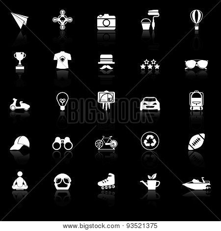 Hipster Icons With Reflect On Black Background