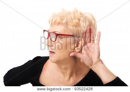 Senior woman overhears a conversation