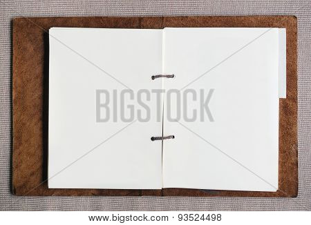 Blank Paper Page In Leather Cover Folder