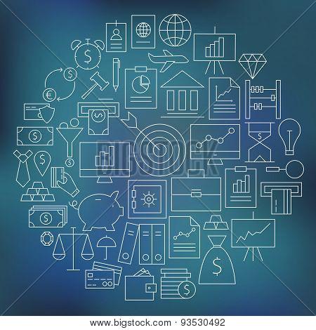 Thin Finance Business Money Line Icons Set Circle Shaped