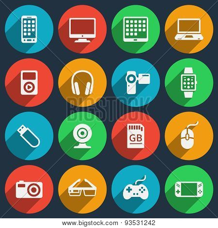 Gadget icons set. Phone and camera, gadget media, laptop and headphone, electronic video player, vector illustration poster
