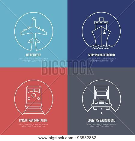 Logistics line icons. Airmail and cargo transportation, delivery and shipping. Freight business, express send and deliver, vector illustration poster