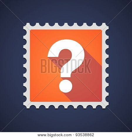 Orange Mail Stamp Icon With A Question Sign