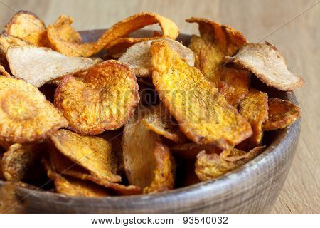 Fried root vegetable crisps.