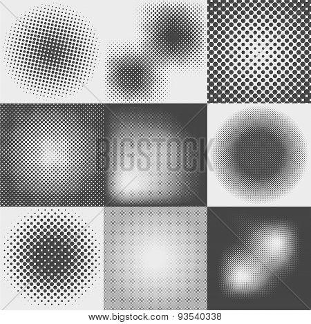 Set Of Halftone Dots Pattern
