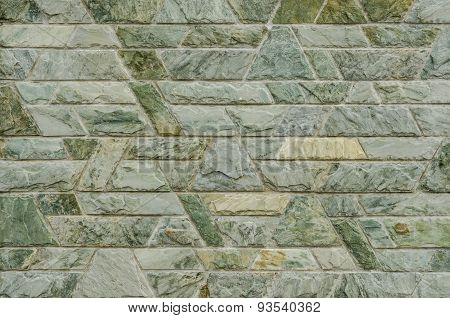 Pattern Of Green Slate Stone Wall Surface