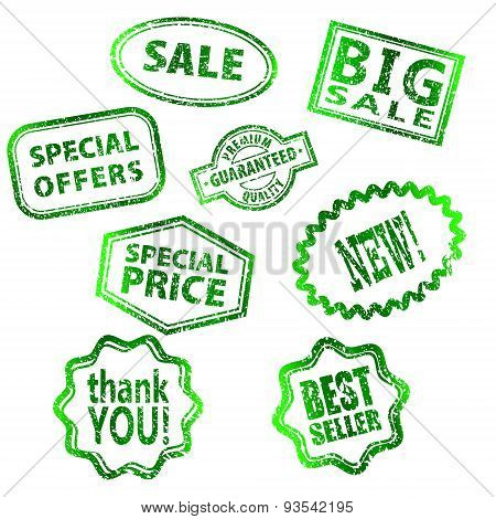 set of Big Sale grunge stamp Green