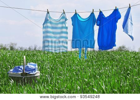 Laundry line with clothes in spring field
