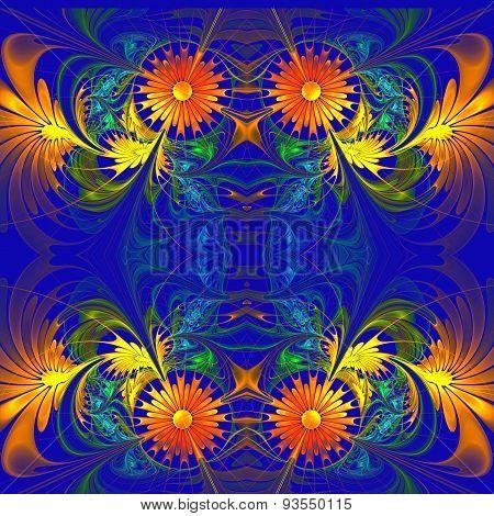 Flower Pattern. Orange And Darkblue Palette. Fractal Design. Computer Generated Graphics