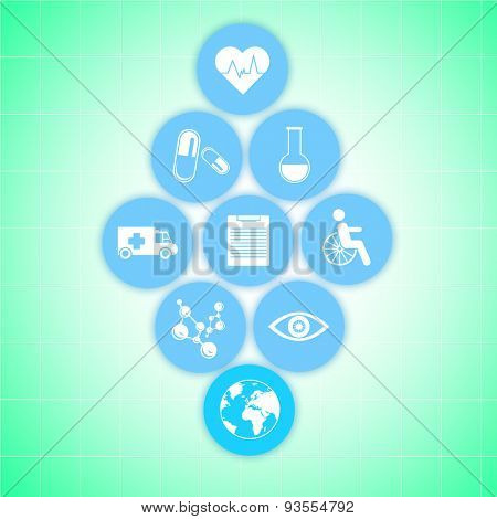 Medical healthcare icons on green background. Modern medical technologies concept