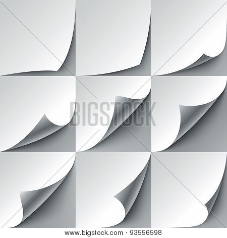 Set of 9 white paper curled corners with realistic shadows. RGB EPS 10 vector illustration poster