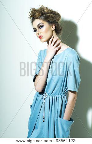 Pretty Woman In Blue Dress