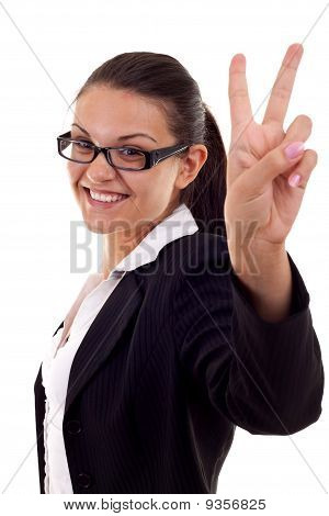 Woman Showing Victory Sign