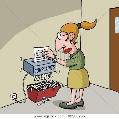 Cartoon about female office worker