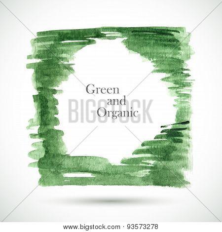 Vector watercolor green frame