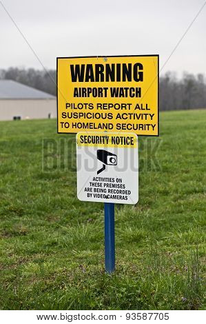 Security Sign Outside Airport