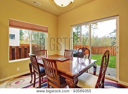 Excellent Dinning Room With Sliding Glass Door.