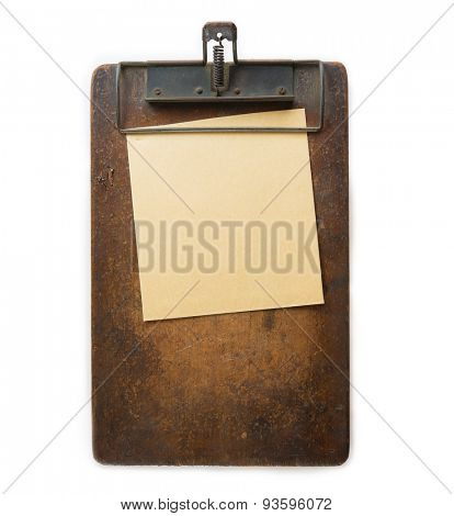 Vintage clipboard and memo paper Isolated on white.