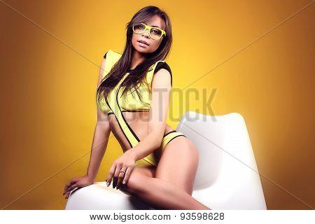 Sexy Brunette Lady Posing In Swimwear.