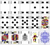 Poker cards spade set four color classic design 600 dpi poster
