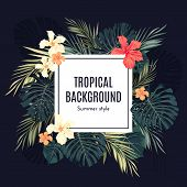 Summer tropical hawaiian background with palm tree leavs and exotic flowers, space for text, vector illustration. poster