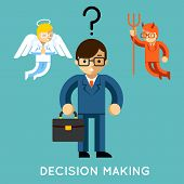 Decision making. Businessman with angel and demon. Choice good and bad, conflict dilemma, vector illustration poster