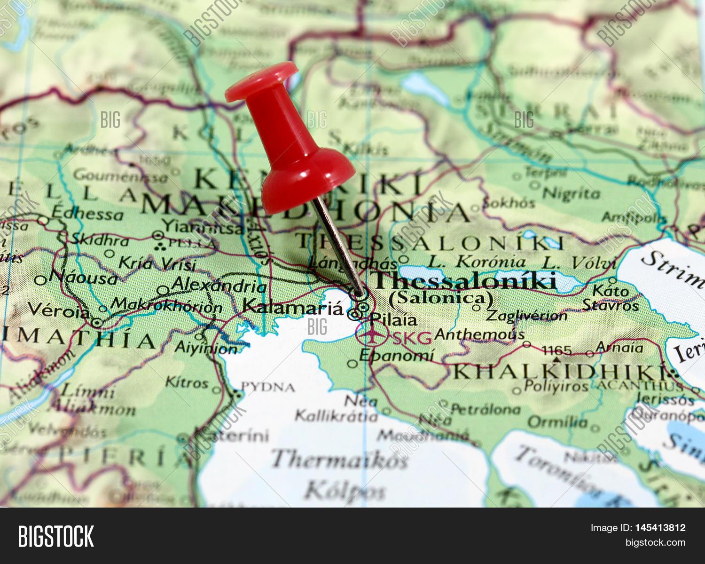 Map Pin Point Thessaloniki Greece Image Photo Bigstock
