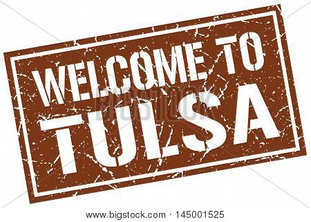 welcome to Tulsa. stamp. grunge square sign