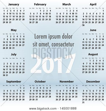 English Calendar For 2017 Year. Sundays First