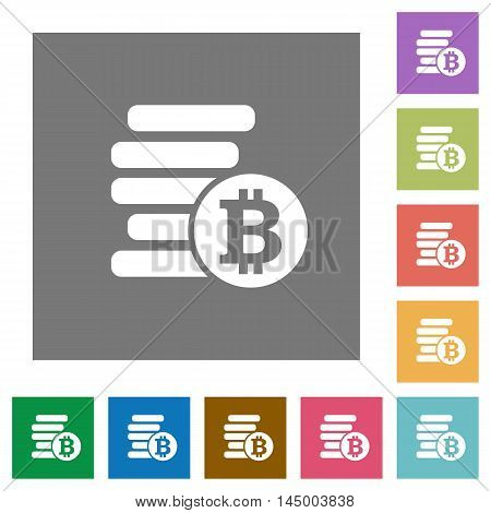 Bitcoins flat icon set on color square background.