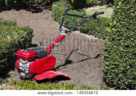 Small self propelled cultivator in a garden