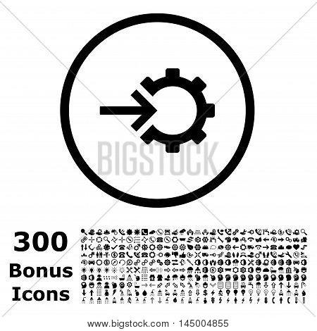 Cog Integration rounded icon with 300 bonus icons. Vector illustration style is flat iconic symbols, black color, white background.