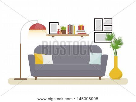 Interior Design. Modern living room with grey sofa, vase, shelf with books and floor lamp. Apartment interior in the flat style. Isolated vector illustration cozy interior on the white background.