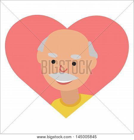 Vector drawing of icon elderly man in the pink heart