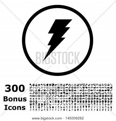 Execute rounded icon with 300 bonus icons. Vector illustration style is flat iconic symbols, black color, white background.